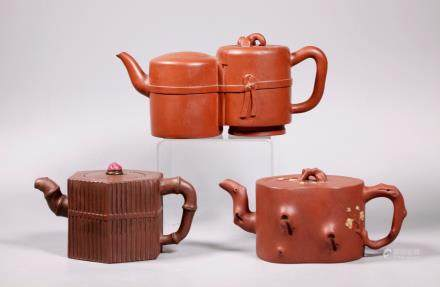 Three Chinese 19/20 Century Yixing Teapots
