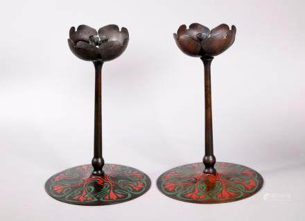 Am Art Nouveau Copper Candlesticks Otto Heintz