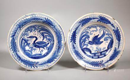 2 Spanish Talavera 18C Blue & White Faience Bowls