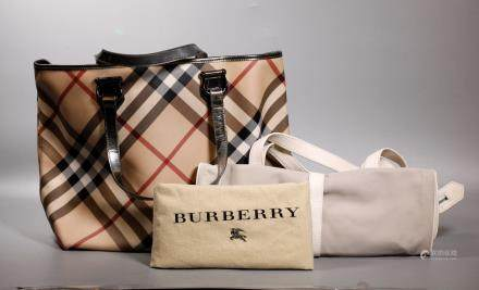 2 Burberry Handbags, Signature Plaid Tote & Travel