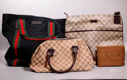 3 Vintage Gucci Handbags; Sm Duffle Shoulder Tote