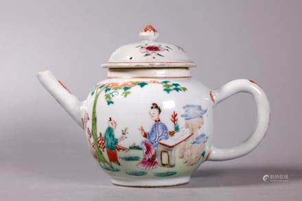 Chinese 18 Century Famille Rose Porcelain Teapot