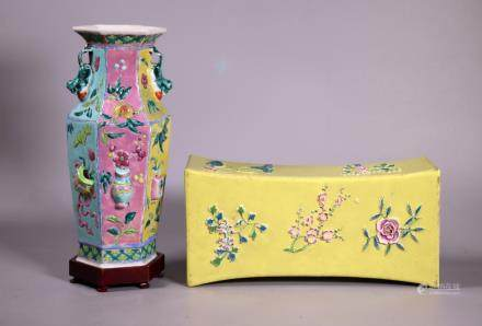 2 Chinese 19 C Enameled Porcelains, Vase & Pillow