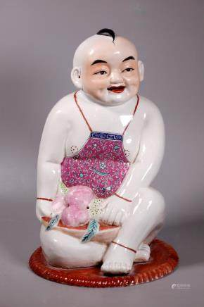 Large Chinese Enameled Porcelain Boy Figure