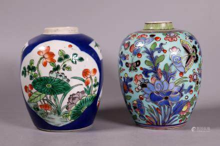 2 Chinese 18/19 C Enameled Porcelain Tea Jars