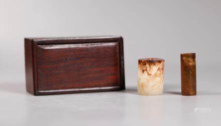 - 2 Chinese Archaistic Jade Tube Beads; Wood Box