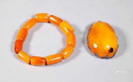 Lg Butterscotch Amber Cabochon & 11 Beads; 50.4G
