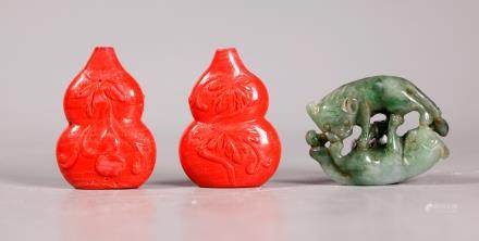 "Chinese Jadeite Badgers; 2 ""Coral"" Glass Beads"