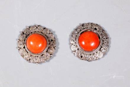 Chinese Qing Coral Cabochons Old Silver Settings