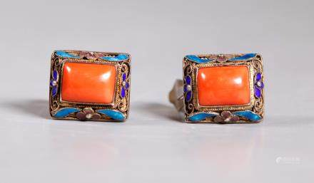 Chinese Coral Cabochons Gilt Wire Earrings