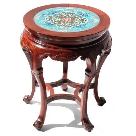 Chinese Cloisonne Hardwood Taboret 5-Legged Table