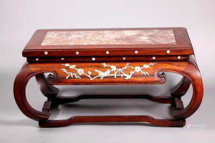 Chinese Qing Marble & Pearl Inlaid Hardwood Stand