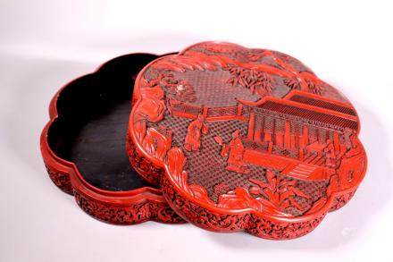 Chinese Red Lacquer Covered Composition Box