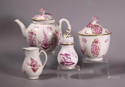 Worcester Puce Teapot, Sugar & Cream; Fulda Castor