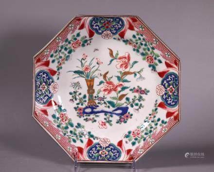 Famille Rose Enameled 18 C Porcelain Octagon Plate