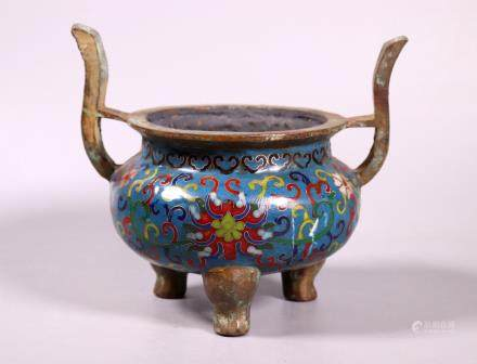 Chinese Cloisonne on Bronze Incense Burner