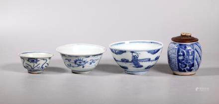 3 Chinese Ming Blue & White Bowls; 1 Japanese