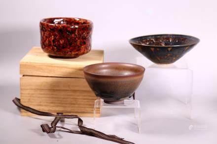 2 Chinese Teabowls Zizhou Jianyao: 1 Japan Marble