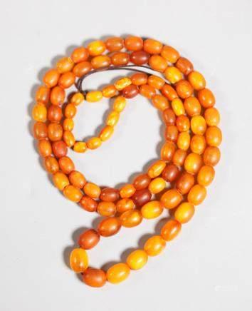 Butterscotch Amber Bead Necklace; 39.5G