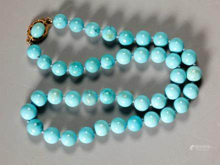 Turquoise Bead Necklace; 18K Gold Closure; 42.2G