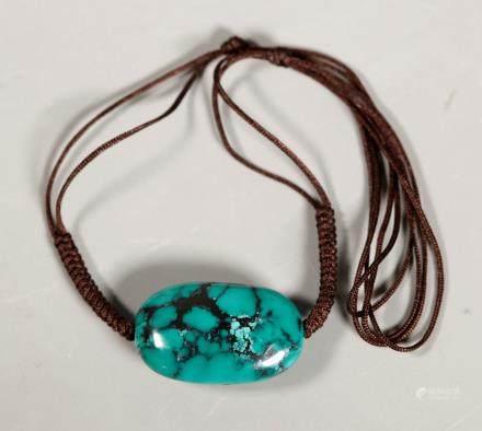 Chinese Polished Turquoise Pebble Bead; 34G