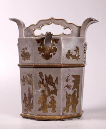 Chinese 19 C Pewter & Brass Octagonal Wine Jar