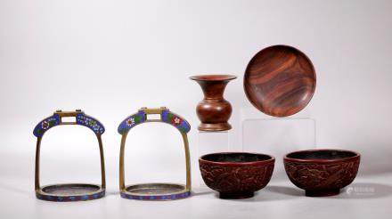 6 Chinese Objects; Cloisonne Stirrups, Bowls, Wood