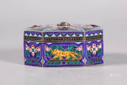 India Antique Mughal Style Enamel Gilt Silver Box
