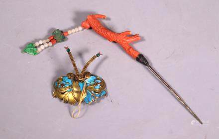 2 Chinese Qing Dynasty Hairpins; Coral Jadeite Etc