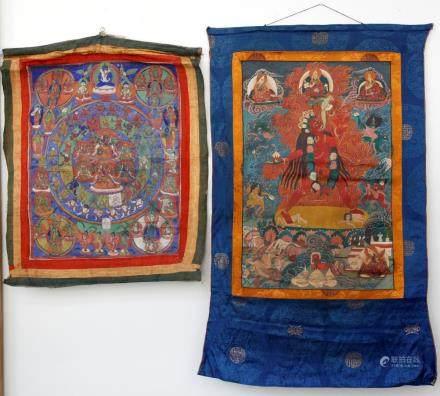 Two Tibetan Thangkas Mounted with Brocade