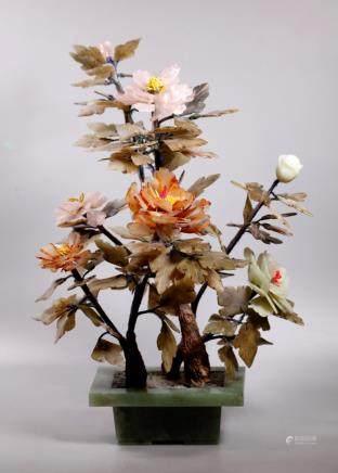 "Chinese Agate, Rose Quartz, Hardstone ""Jade"" Tree"