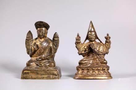 2 Tibetan 19 C Gilt-Lacquered Bronze Lama Figures
