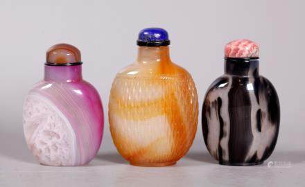 Chinese 19 C Agate Basket & 2 Agate Snuff Bottles