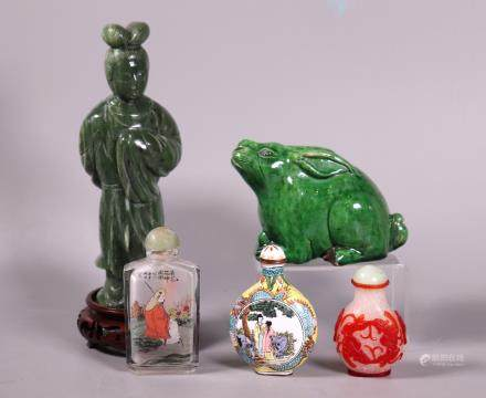 Chinese Group Hardstone Figure, 3 Snuff, Rabbit