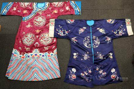2 Chinese Embroidered Satin Robes