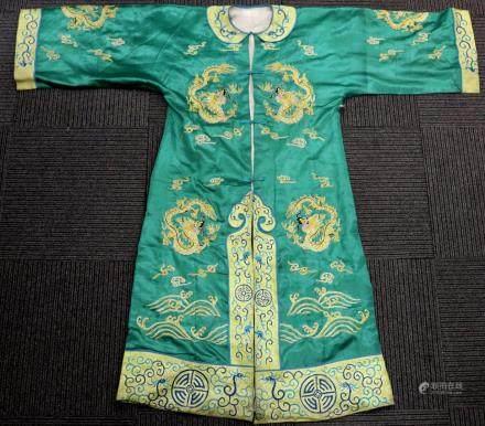 Chinese Green Satin Dragon Coat