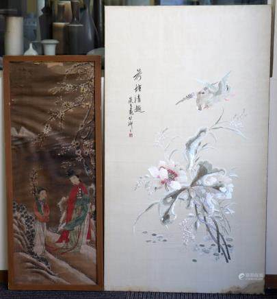 Chinese 19C Silk Lotus Embroidery; Silk Painting