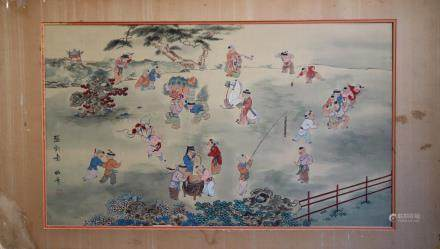 "Gao Binghua Chinese Silk Painting ""Boys Playing"""