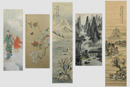 5 Chinese Scroll Paintings; Ink & Color on Paper