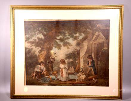 Old Master English Print Children & Toy Boats