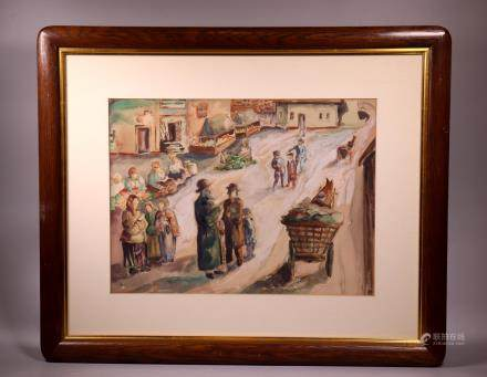 Jewish Theme Watercolor; Ghetto View with Figures