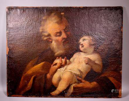 Italian 18 C Baroque St Joseph & Christ Child Oil