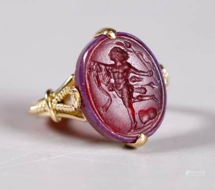 Roman or Tassie Intaglio 18K Ring