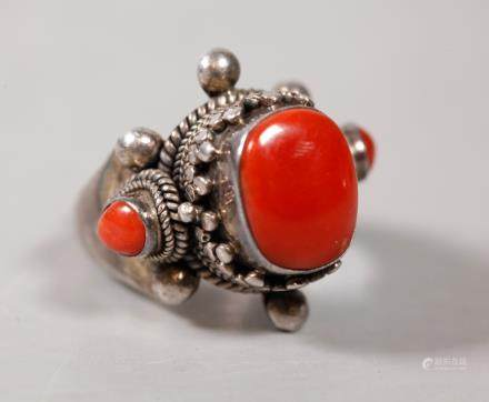 Tibet Dark Coral & Silver Adjustable Ring; 21.7G