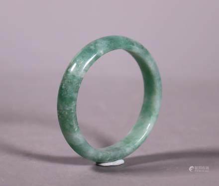 Chinese 1/2 Round Natural Green Jadeite Bangle