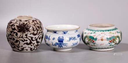 Three Chinese Porcelains, 2 Jars, 1 Incense Burner