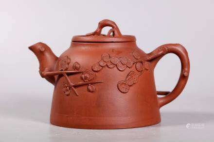 Chinese Yixing Teapot Applied Pine & Prunus Branch