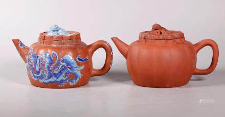 - 2 Chinese 19/20 C Yixing Melon & Lion Teapots