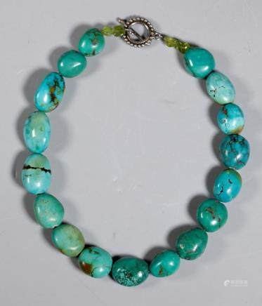 Antique Turquoise Bead Necklace; 162.5G
