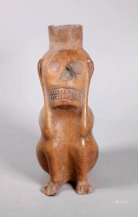 Pre-Columbian Type Pottery Figure with Scull Face